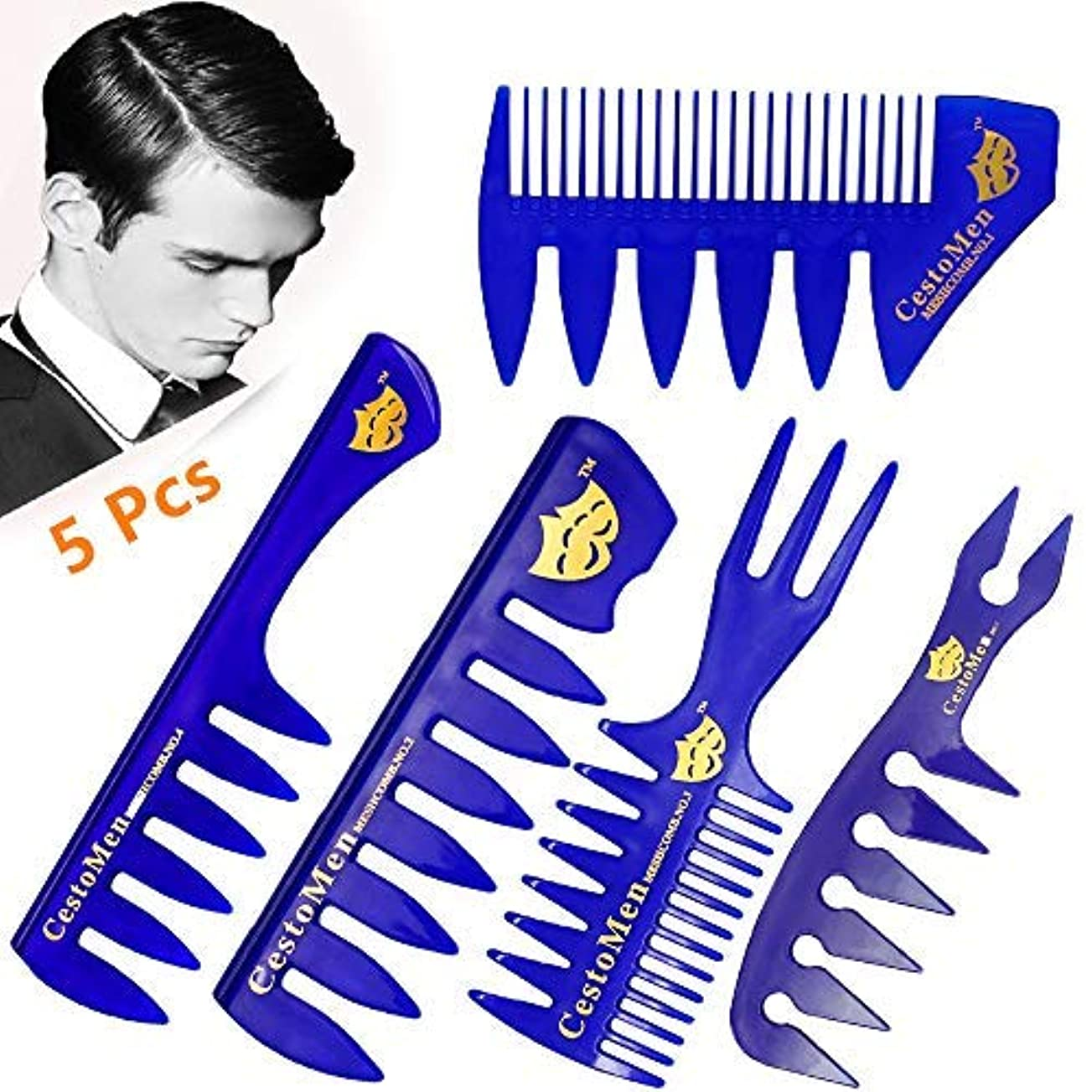 5 Pack Hair Professional Teasing Combs - for Hairdressing, Barber, Hairstylist, Premium Quality Anti Static Hair...