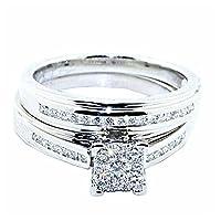 10Kホワイトゴールド1/ 2cttwダイヤモンドブライダルセット婚約指輪とバンド8.5MM幅( I / Jカラー0.5カラット)