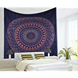 MAVISS HOMES Lavender Queen Indian Mandala Tapestry Wall Hanging for Bedroom Bohemian Floral Design Cotton Bedspread Throw Bl