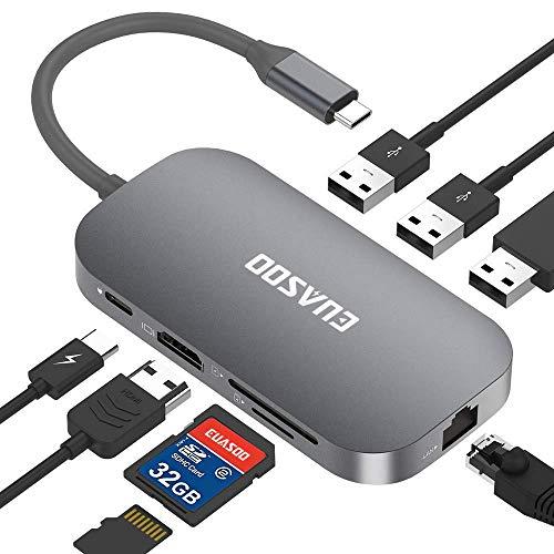 【充電進化版 PD 3.0】 USB C ハブ 1台8ポート Type c ドッキングステーション - (8 in 1 : Lan ポート、 USB C 充電ポート、USB 2.0 ポート×1 、HDMI ポート 、 USB 3.0 ポート×2、 SD カード リーダー 、 TF/Micro SD カード リーダー) for macbook pro ハブ/usb type c アダプター