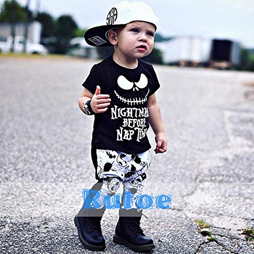 Toddler Baby Boy Clothes 2PCs Outfit Set Nightmare Printing Long Sleeve and Skull Pants 0-5T Kids Clothing Set - Black - 2-3T