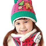 子供帽子+スヌード 2点セット 可愛い帽子 ニット帽子 耳当て 首元 暖か 防寒 冬用 ぼうし マフラー ポンポン付き 雪だるま ツリー クマ アニマル 男の子 女の子 人気アクセサリー ファッション小物 クリスマス プレゼント ギフト ローズ