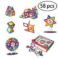 マグネットブロック 磁気おもちゃ 子ども磁石ブロック 図形 組み立て ゲーム モデルDIY 子供プレゼント パズル マグネット子供オモチャ(58ピース)幾何学認知 想像力と創造力を育てる 知育玩具 建設玩具積み木