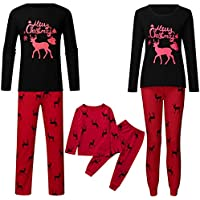 SERAPHY Matching Family Christmas Boys Girls Pajamas 2 Pieces Reindeer Parents Kids Matching Sleepwear Outfits