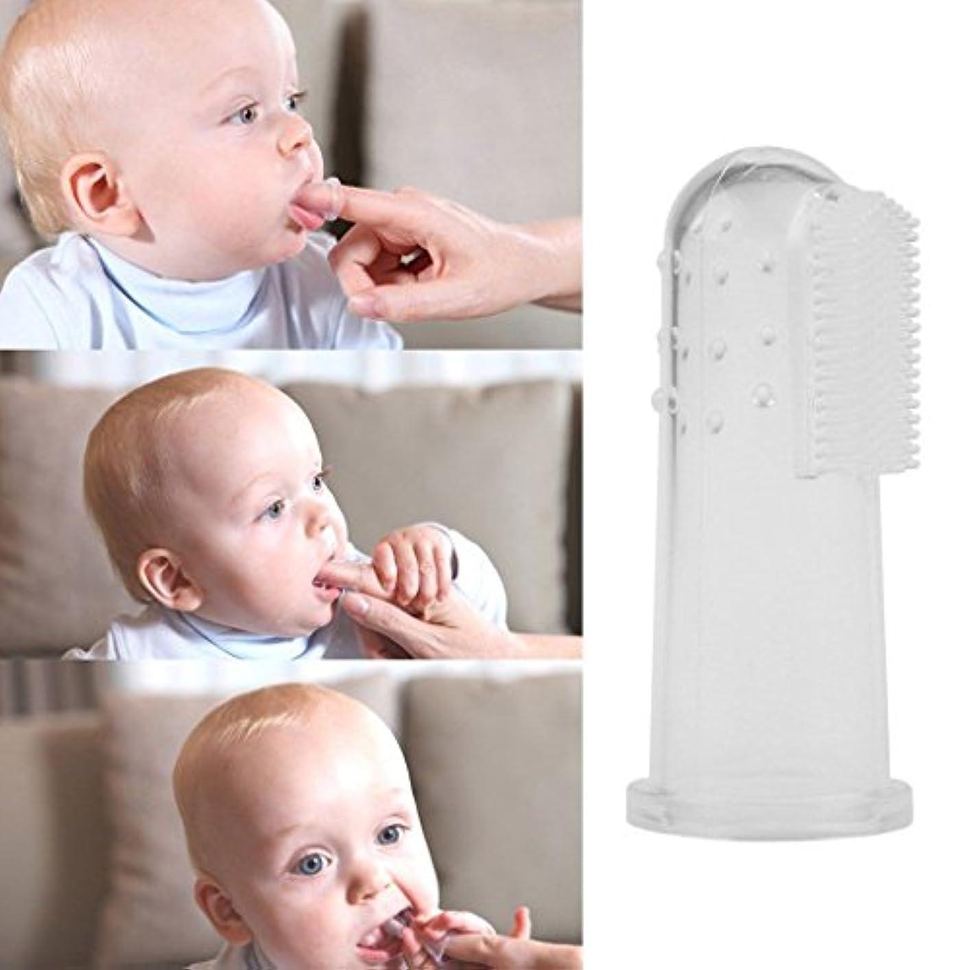 ブルーベル薬モスクCUTICATE おもちゃ歯が生える赤ちゃんの明確な屈曲可能なおしゃぶりトレーニング指歯ブラシ乳児