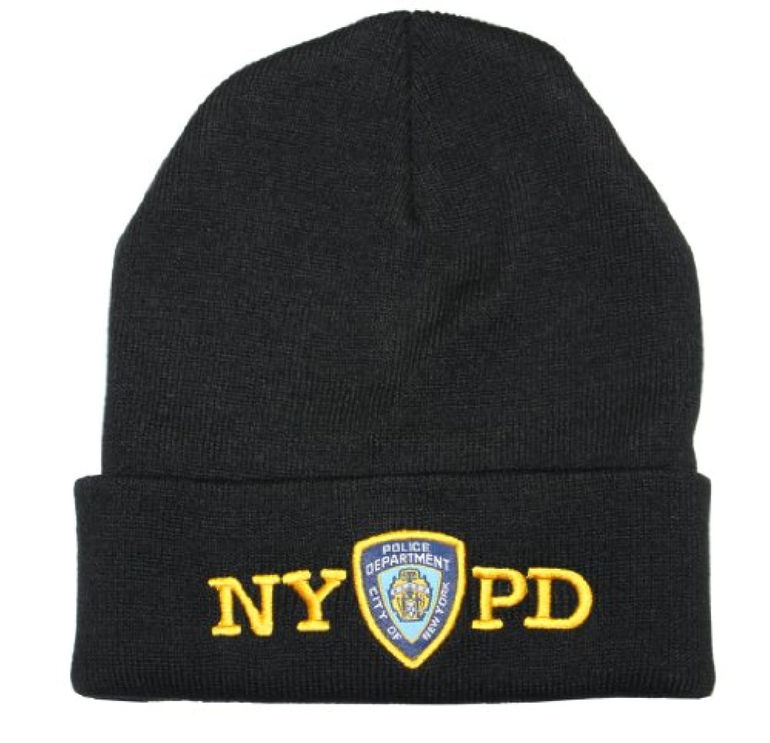 鏡休憩する差し迫ったNYPD冬帽子警察バッジNew York Police Departmentブラック&ゴールドOneサイズ
