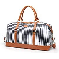 Travel Weekender Bag Women Overnight Duffel Bag Canvas Large Carry On Tote Holdall Bag with Shoulder Strap (Blue Stripe)