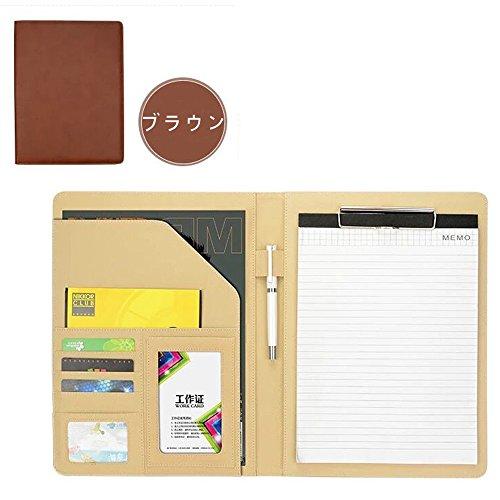 Homehalo クリップボード ビジネス手帳 A4 PUレザー 多機能 多収納 多ポケット システム手帳 カバーノートiPhoneに対応可能 シンプルなデザイン A4用紙 (ブラウン)