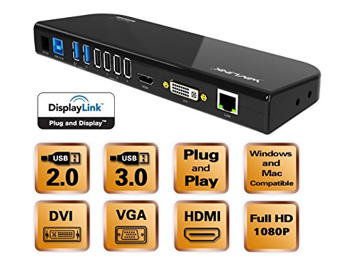 『Wavlink USB 3.0 ユニバーサル・ドッキングステーショ・デュアル ビデオモニタ・ディスプレイ 最高解像度2048x1152のDVI & HDMI & VGA ポート、ギガビット・イーサネットポート、オーディオ、6つのUSBポートはラップトップ、ウルトラブック、PCなどに対応 USB 3.0 ポートx2、USB 2.0 ポートx4、PSE認定されたAC12V2A 電源アダプター付』の4枚目の画像
