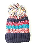 ELEEJE ポンポン 付き ニット帽 レディース フリーサイズ (ネイビー)