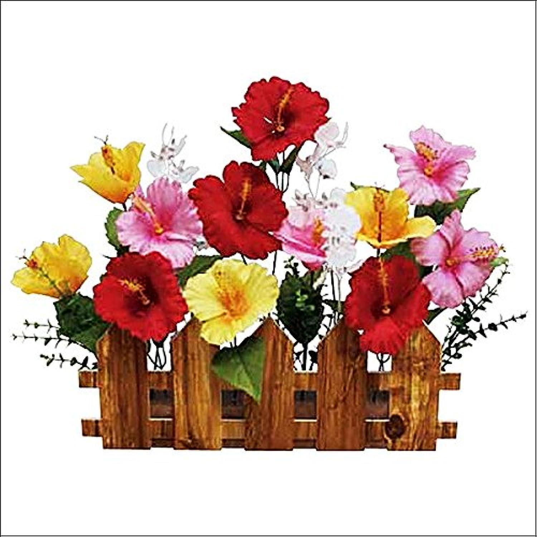 夏装飾 ハイビスカス垣根スタンド W51cm/ディスプレイ 装飾 飾り  4235