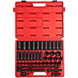 Sunex 2569 1/2-Inch Drive Metric Impact Socket Set, Standard/Deep, 6-Point, Cr-Mo, 3/8-Inch - 1-1/2-Inch, 43-Piece