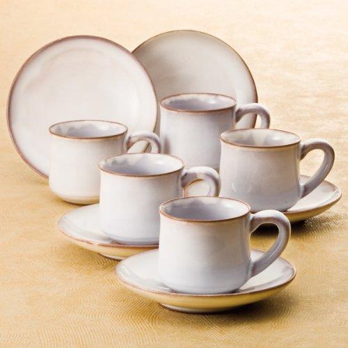 萩焼 白萩 コーヒー碗皿5客揃 S7-11