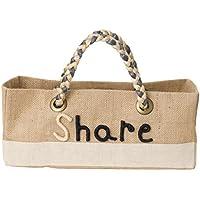 ピープルツリー 手刺繍メッセージ ジュートの浅形バスケット Share 183-031