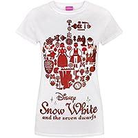 Snow White Disney Red Foil Women's T-Shirt, White, Large
