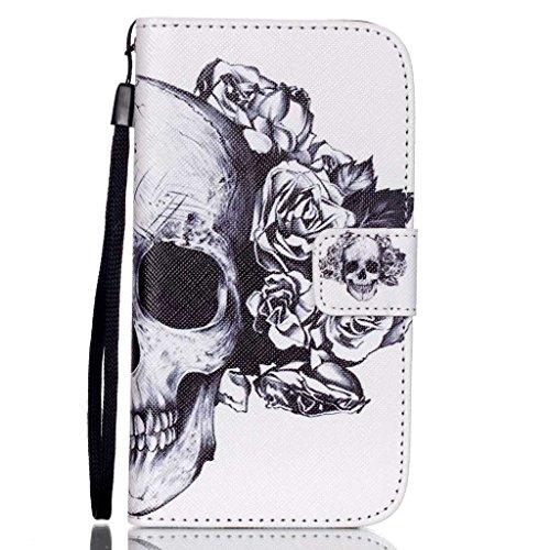 Samsung Galaxy S4 Mini / i9190 / i9192 カバー シェル 財布, Ougger(TM) 髑髏 [ハンドストラップ] PUレザー 横開 フリップケース 保護