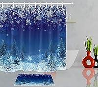 GooEoo クリスマスユーリン雪片きらびやかなスターシャワーカーテンセットには12のプラスチックフックが含まれています防水素材フランネルバスマット40x60cmバスルームカーテン71x71インチ