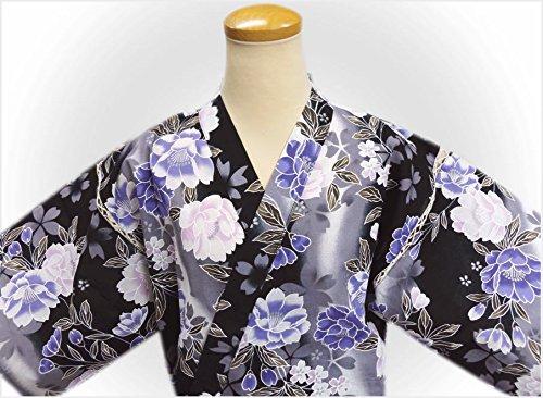 女性用レディース甚平じんべい黒色グレー地八重桜さくらフリー