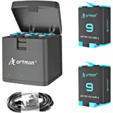 Artman 2-Pack Replacement Batteries and 3-Channel USB Storage Quick Charger for Hero 9 Black, Fully Compatible with Hero 9 Or