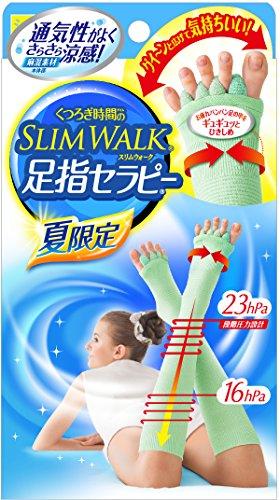 くつろぎ時間のスリムウォーク 足指セラピー (夏用) さらさら涼感 ショートタイプ M-Lサイズ ミントグリーン
