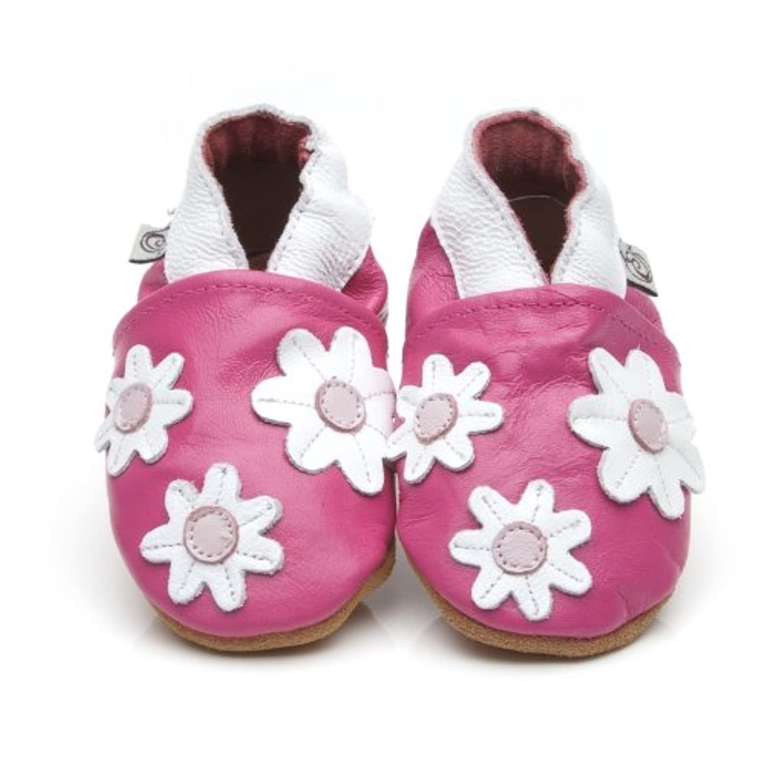 Soft Leather Baby Shoes Little Flowers Pink [ソフトレザーベビーシューズリトル花ピンク] 18-24 months (15 cm)