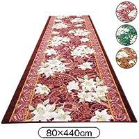廊下マット ゆり柄 廊下敷 (80cm×440cm) 抗菌加工 防臭加工 色/ブラウン系