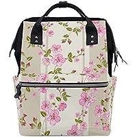 ママバッグ マザーズバッグ リュックサック ハンドバッグ 旅行用 水彩絵 ピンク花 ファション