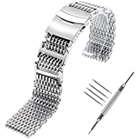 YISUYA Shark MESH 20MM 22MM 24MM Full Stainless Steel Watch Band Heavy Duty Diving Dive Watch Strap
