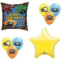 loonballoon Bull Dozer Loader Construction TRUCKSイエロー8 Party Mylar &ラテックスバルーンセット