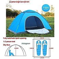 自動ポップアップアウトドアファミリーキャンプのテント1つの2 3 4人複数モデルイージーオープンキャンプテントウルトラライトインスタントシェード ZASUBC (Color : Blue 1 2 man)