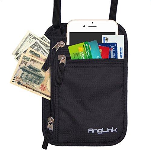 パスポートケース ネックポーチ スキミング 防止 パスポートバッグ 海外旅行 セキュリティケース 首下げ 貴重品入れ 防水 大容量 iPhone7Plus収納可 4ポケット搭載 byAngLink
