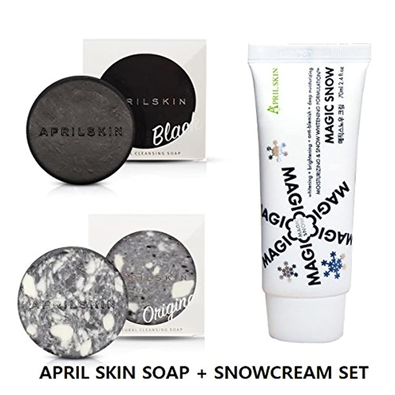 パラメータ新着なに[APRILSKIN] エイプリルスキン マジック スノークリーム + 国民石鹸 ORIGINAL + BLACK SET [April Skin Magic Snow cream + Magic Stone Original...