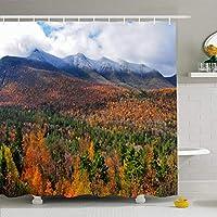 フック付きシャワーカーテンセット72x78ホワイトマウンテンニューハンプシャー州の田舎雪に覆われた木々秋風光明媚なアメリカ合衆国自然オレンジ公園屋内防水ポリエステルファブリックバスルーム用バスインテリア 200X180 CM