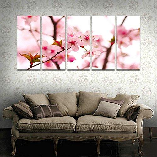 CyiohArt - 5パネル アートパネル 「美しい桜」 壁掛け 風景写真の壁の写真を絵画 キャンバス絵画 ホームデコレーション用 (69インチx32インチ、木枠付きの完成品)