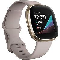 Fitbit Sense Alexa Smart Watch with GPS Lunar White/Soft Gold, Luna White/Soft Gold, L/S Size
