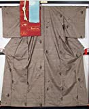 着物セット 未使用品9マルキ大島紬と名古屋帯、帯揚げ、帯締めの4点セット 裄長サイズ  【中古】