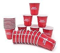 24ct MiniレッドHappy誕生日カップ2ozプラスチック使い捨てショットグラスパーティShooter Beer Pong Jello、レッド
