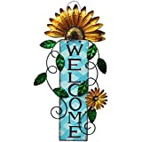 Morning View Rustic Yellow Metal Daisy Welcome Sign for Front Door Yard Garden Outdoor Patio Fence Home Decor 15 Inch