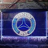 Mercedes Benz LED看板 ネオンサイン バーライト 電飾 ビールバー 広告用標識 ホワイト+ブルー 30cm x 20cm