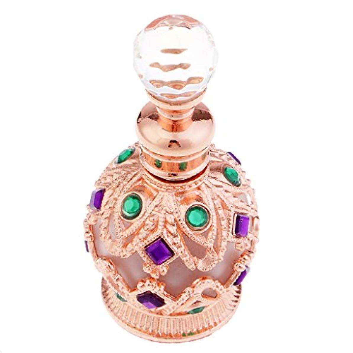 真向こう咲くに渡って金属製 中東スタイル トラベル 香水瓶 15ml 香水ボトル 小型 軽量 携帯便利 全2色 - ローズゴールド