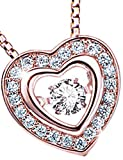 La Belle Fleur [ラ・ベル・フルール] ダンシングストーン ハート K18ピンクゴールド仕上げ ダイヤモンドCZ 4月誕生石 バレンタイン ホワイトデー プレゼント (K18ピンクゴールド仕上げ)