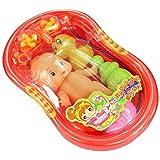 ノーブランド品 2セット プラスチック製 ベビードール バスタブ 風呂のおもちゃ ギフト 2色選ぶ - オレンジ
