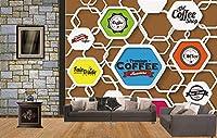 Lcsyp カスタム3D壁画、コーヒーショップ壁背景装飾画、リビングルームのソファテレビ壁寝室の壁3d-400X280CM