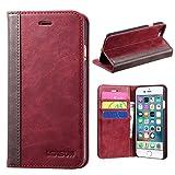 マグネット不使用 iphone7 Plus ケース 手帳型 本革 おしゃれ カード収納 スタンド機能 ブックタイプ ベルトなし 財布型 人気 レザー 磁石なし アイフォン7プラス カバー LENSUN