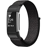 FINTIE for Fitbit Charge 2 バンド ナイロン スポーツループ 調節可能なファスナー閉鎖 フィットビット 交換用ベルト Fitbit Charge 2 HR スポーツストラップ (ブラック)