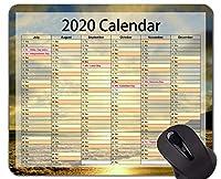 2020カレンダーHdフォントゲームマウスパッド、ビーチ休暇テーマオフィスマウスパッド