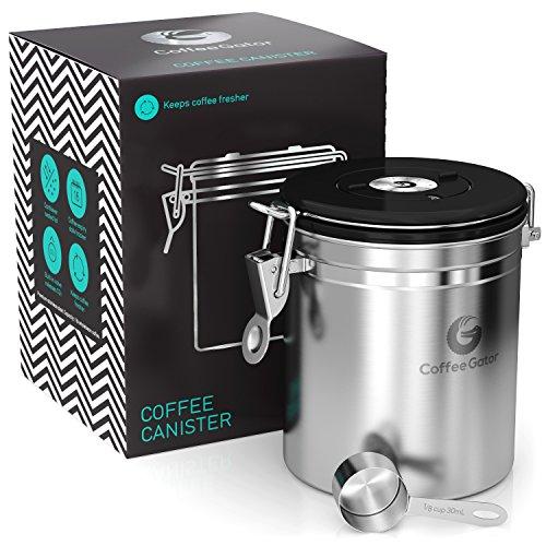 【Coffee Gator (コーヒーゲーター)】- プレミアムな質感のステンレス製コーヒーキャニスタ ー -コーヒー豆や挽いたコーヒー豆を新鮮に長持ち - 今ならと計量スプーン (\905相当)を無料でプレゼント
