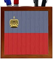 Rikki Knight Liechtenstein Flag on Distressed Wood Design 5-Inch Wooden Tile Pen Holder (RK-PH8738) [並行輸入品]