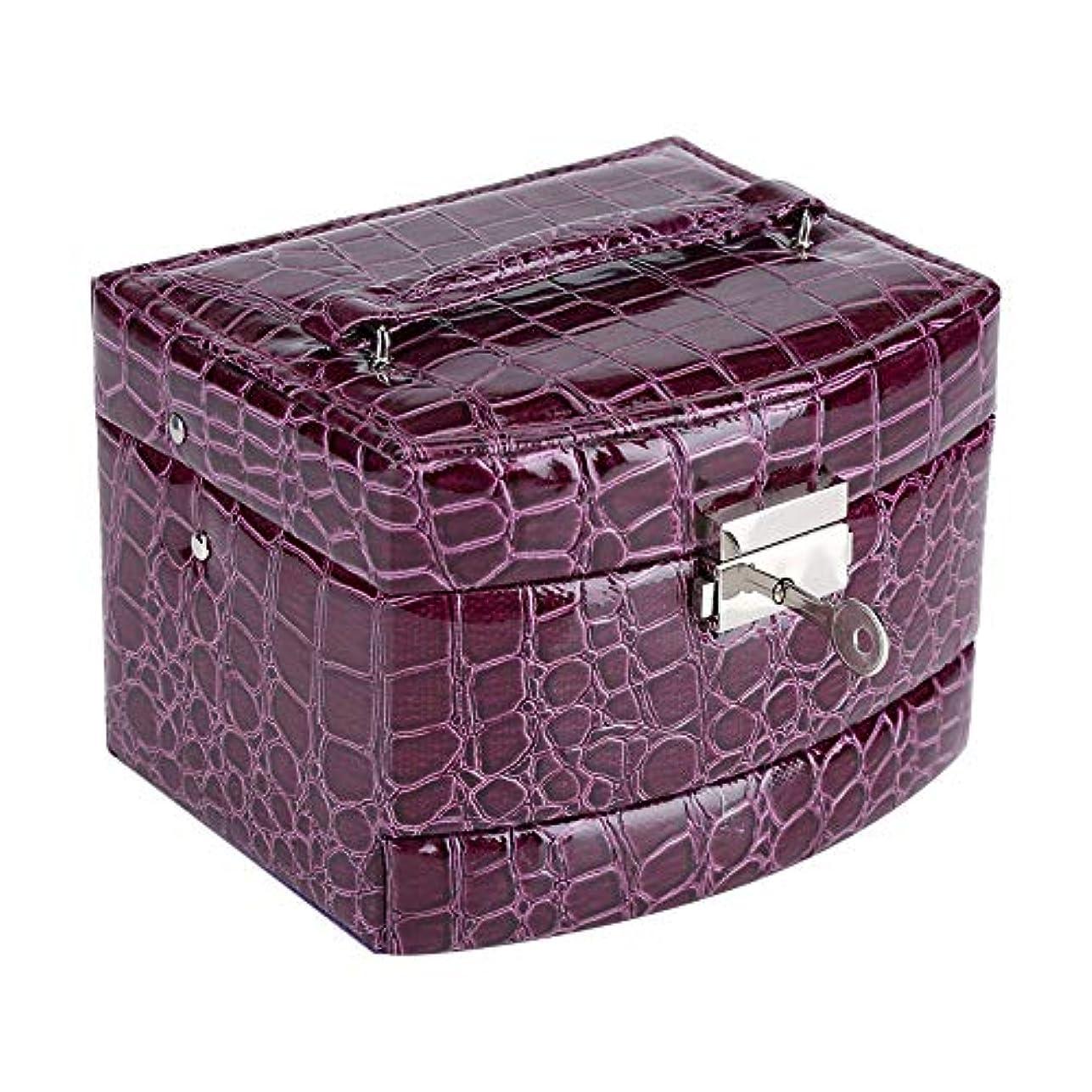 なんとなく並外れてチャンピオンシップジュエリー 收納ケース レザー三層半自動宝石箱ポータブル宝石収納ボックス