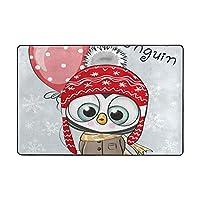 GUVICINIR 洗えるラグ 抗菌 ラグマット 複数のスタイル 滑り止め付 カーペット 1年中使えるタイプ リビングルーム、かわいい漫画のペンギンの帽子とバルーン付きコート、長方形 絨毯 (90×60cm)